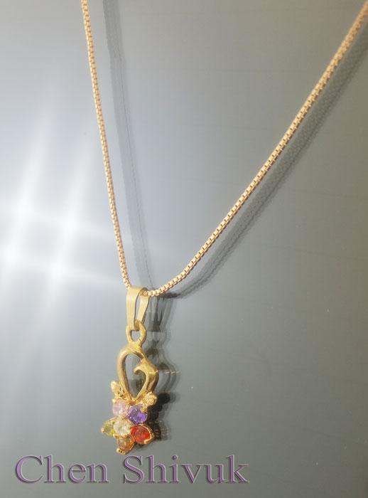 שרשרת-גולדפילד-פרח-זרקונים-בצבעים-עם-לב